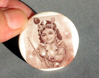 Gopi Krishna Button Ceramic Sepia Craft Supplies