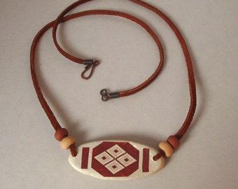 Rustic Necklace Geometric Ceramic Sepia Stoneware