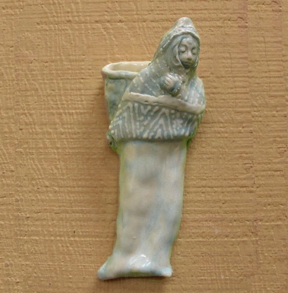 Folk Art Sculpture Ceramic Porcelain Teal Lady Wall Pocket Vase Original Sculpture Vessel - Same Day Shipping