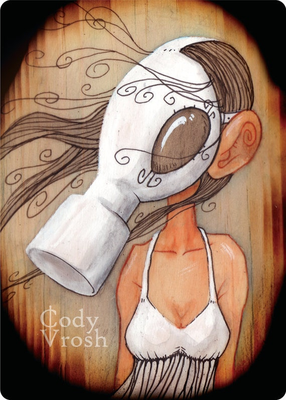 "Gas Mask Art, Post Apocalyptic Fairy Tale, Wood Art - 5x7"" Small Art Print - As The Driven Snow"