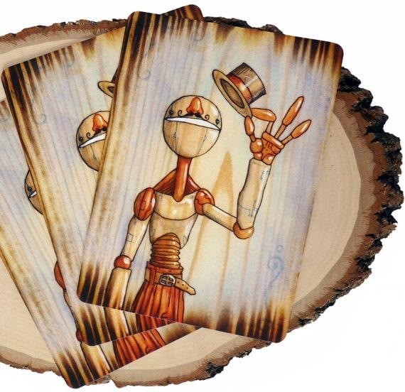 "Steampunk Art, Robot Print, Science Fiction Art - Ringleader 5x7"" Watercolor on Wood Small Art Print by Cody Vrosh"