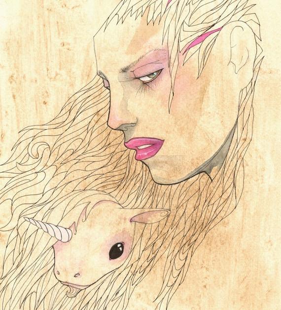 "Unicorn Art, Unicorn Print, Coffee Art, Coffee Print, Illustration - The Days of Wine and Unicorns 11x14"" Art Print"