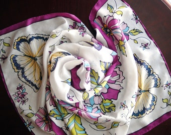 "Floral hand-painted Silk Scarf - ""The Yellow Butterflies'' - Lovely Gift for HER."