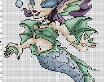 Little Mermaid Cross Stitch Pattern - Professional Pattern Designer and Artist Collaboration