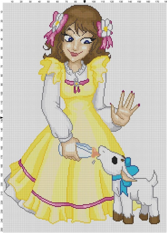 Capricorn Country Lolita Cross Stitch Pattern - Professional Pattern Designer and Artist Collaboration