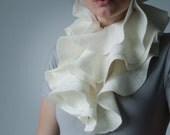 White bridal scarf Ivory white scarf  Nuno felted shawl Ruffle scarf Wavy wool wedding wrap Ruffled scarf from pure wool and silk
