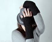 Felted fingerless mittens / wool gloves / felt arm warmers in Jet Black Ready to ship now Christmas gift under 50 USD