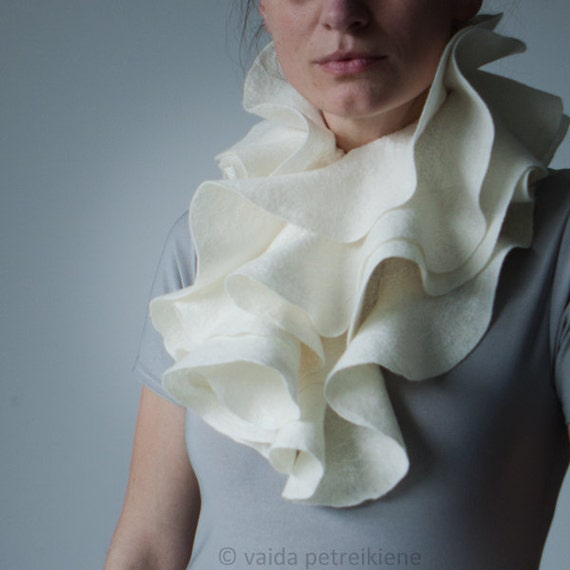 White bridal scarf Ivory white scarf  Nuno felted shawl Ruffle scarf Wavy wool wedding wrap Ruffled scarf from pure wool and silk