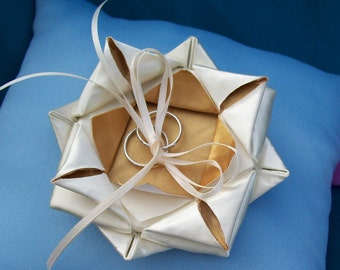 Oragami Lotus in Gold and Ivory Satin on Ring Bearer Pillow