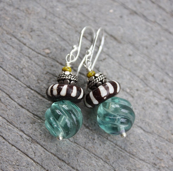 African Stack Earrings with Fluorite and Bali Silver Beads