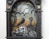 Crow painting, Original Skull art, Graveyard Ar.t upcycled art ooak
