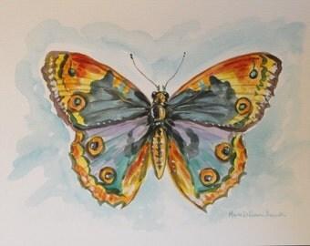 Butterfly painting, Original Butterfly art, modern wall art, butterfly Moth, Original watercolor Painting