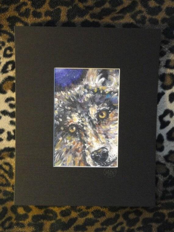 Wolf art, wolf wall art, big Eyes , animal art, wolf eyes, Signed Print