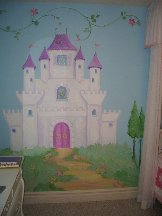 Castle murals castle wall art fairy art fairy tale mural for Disney wall stencils for painting kids rooms