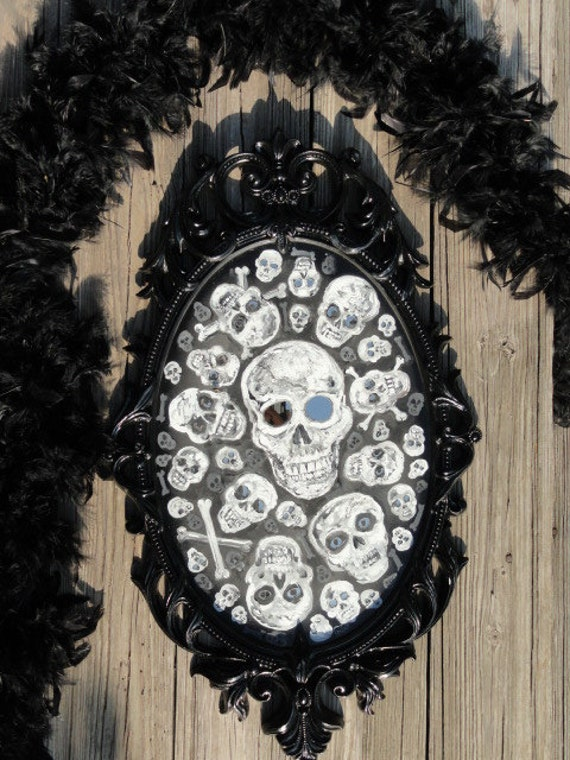 Skull painting,Vintage Mirror, SKULL ART Framed  Painting, spooky mirror