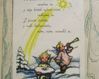 Antique Signed Angel Postcard. Little angels  in the snow. 1941