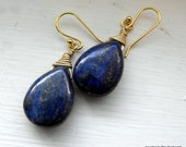 Lapis Earrings, Elegant Earrings, Gold and Blue Earrings, Blue Earrings,