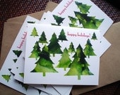 Happy Holidays Cards, Christmas Cards, Christmas Trees, Set of Christmas Cards, Non Religious, Winter Holidays, Xmas Cards, Minimalist,White