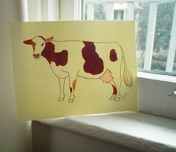 Cow Art, Farmhouse Decor, 6 x 8, Farm Animals, Fun Art, Cow Lover, Children's Art, Cute Art, Small Art, Cow Painting, Watercolor Painting