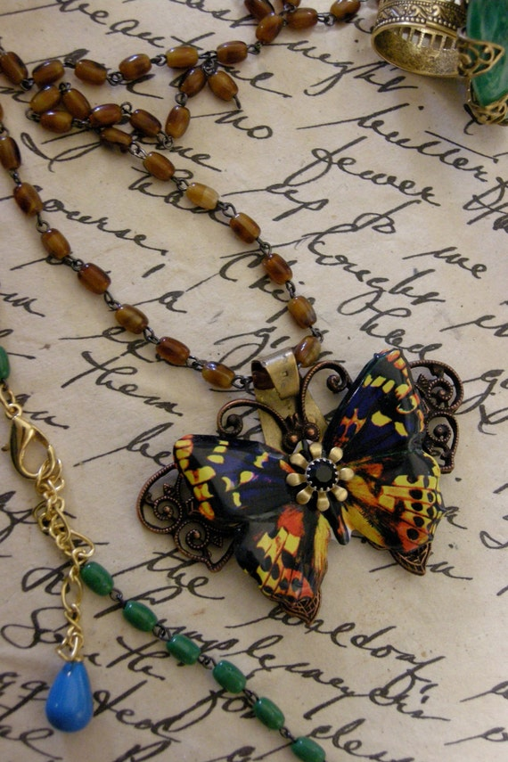 Butterfly Rosary Necklace in Orange and Gold - Free Shipping USA -