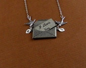 Personalized Oxidized Silver Lover Letter Bird Sparrow Customized Initial  Locket Necklace