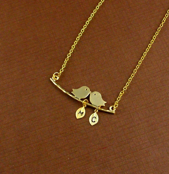 Personalized Gold Plated Love Birds Customized Initial Necklace