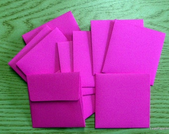 Handmade PaperArt Fifty Mini Envelopes in Screaming Fuchia Text Paper, New Color, 60 pound Text Paper