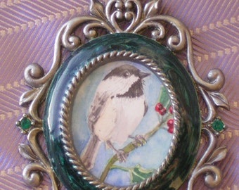 Black Capped Chickadee Hand-Painted Holiday Ornament Original Painting