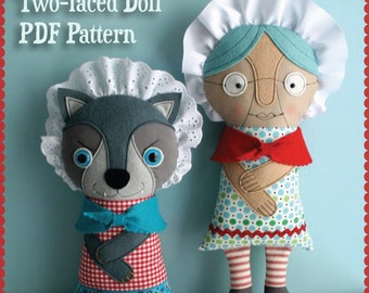 Gramma Wolfie Two-faced Doll PDF Pattern