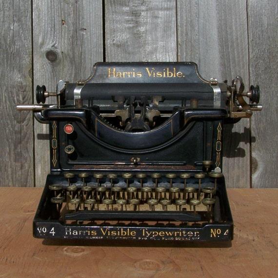 1912 Antique Harris Visible No. 4 Typewriter, RARE