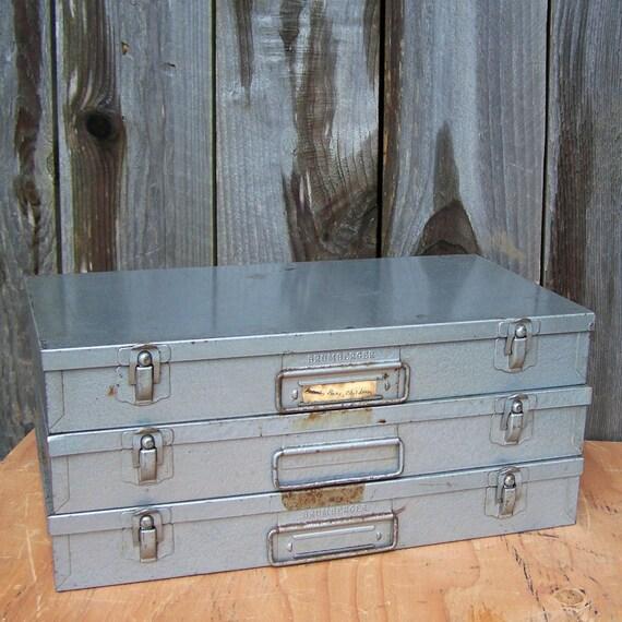 Set of 3 Vintage Brumberger Slide Storage Boxes