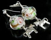 Horse earrings. Horses and lamp work glass beads