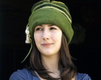 Unique Green felt cap felt hat nunofelt merino wool hat felted wearable art hat woodland hat handmade france