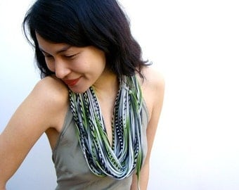 Dark Green Scarf, Green Black Scarf, Gifts for Women, Gift For Her, Green Scarf, Mens Green Scarf, Womens Green Scarf, Green Scarf Necklace