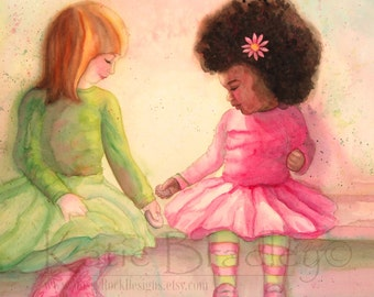 ORIGINAL Little Friends watercolor - 21 x 21 inches original painting