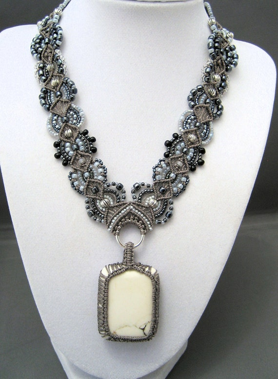 Statement Necklace in Beaded Macrame with White Magnesite Stone Pendant Black Gray