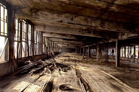 """8x12 - Detroit Architecture color photography Neglected Beauty, Abandoned Building, Surreal Fine Art """"LOFTED"""""""