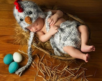 Baby Rooster HAT &  DIAPER Cover Newborn 0 3m Fuzzy Chicken Photo Prop Boys Girls Gender Neutral Cute Baby Outfit