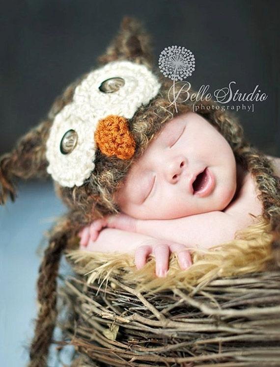 POPULAR Baby Owl Hat Newborn 0 3m 6m Fuzzy Brown by