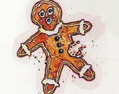 "Gingerbread Man Greeting Card // Blank Illustrated Happy Holidays Christmas Chanukah Gift Card 4"" x 5"""