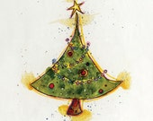 "Christmas Tree Greeting Card // Blank Illustrated Merry Christmas Tree Holiday Gift Card 4"" x 5"""