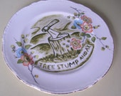 tree stump and ax china plate hand painted reworked