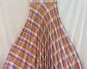 Plaid Accordion Pleated Maxi Skirt Sashay Diagonal Size Small Vintage 70s
