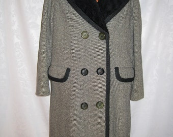 Shawl Collar Tweed Wool Stadium Coat Zip Out Lining Size Medium/Large Vintage 60s