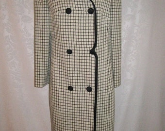 Black and White Check Wool Coat Size Medium Vintage 60s