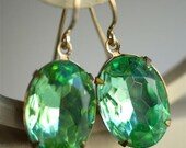 Earrings - Mint Green Estate Style Oval Rhinestones- Old Hollywood Glamour - Holiday Jewelry - Sparkly Earrings - Festive Jewelry - Regal