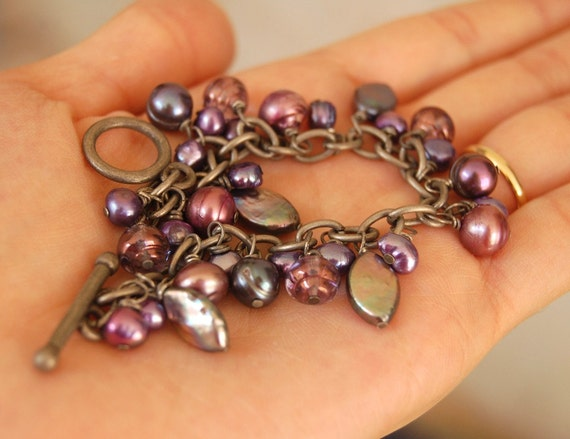 RESERVED for CORINA - Purple Freshwater Pearl Charm Bracelet - Vineyard - Shades of Purple and Grey - One of a kind