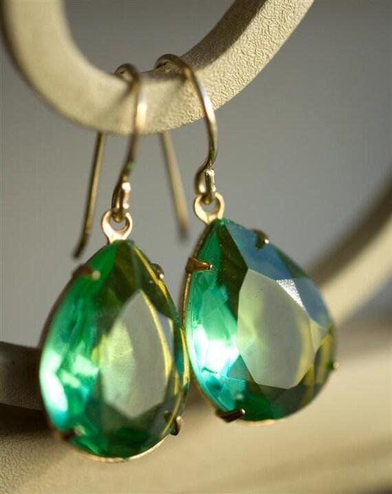 Rhinestone Earrings - Estate Style Earrings - Mint Earrings - Enchanting Golden Green Faceted Glass Stones - Angelina Jolie Inspired - Drama
