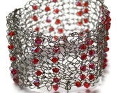 Knit Bracelet Cuff Knitted Jewelry Silver Wire with hot pink swarvoski crystals Cuff Bracelet- THE WENDI CUFF