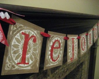 Christmas Decoration REJOICE Holiday Garland Banner Sign